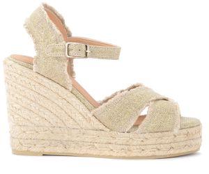 Sandale avec semelle compensée Bromelia en toile de coton doré - Castañer - Modalova