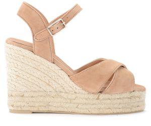 Sandale avec semelle compensée Blaudell en suède beige - Castañer - Modalova