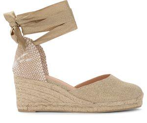 Sandale à talon compensé Carina en tissu beige et or - Castañer - Modalova