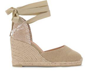 Sandale à talon compensé Carina en toile et tissu couleur sable - Castañer - Modalova