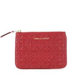 Pochette en cuir imprimé rouge - Comme des Garçons Wallet - Modalova