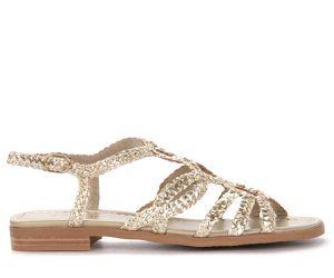 Sandale basse en cuir tressé couleur platine - Pons Quintana - Modalova