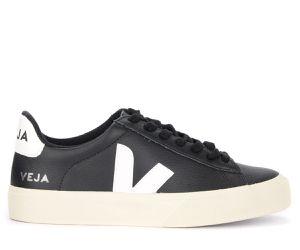 Baskets Campo Easy en cuir noir avec logo blanc - VEJA - Modalova
