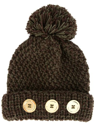 Button pompom beanie - Marron - 0711 - Shopsquare