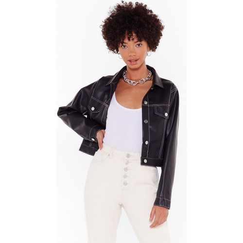 A Good Stitch-uation Faux Leather Cropped Jacket - NastyGal - modalova