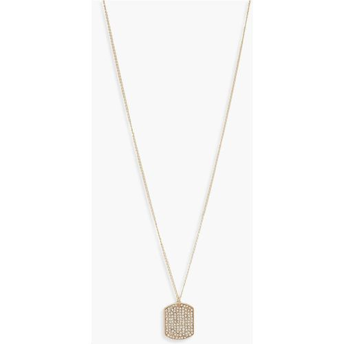 Diamante Tag Simple Pendant Necklace - - ONE SIZE, - boohoo - Shopsquare