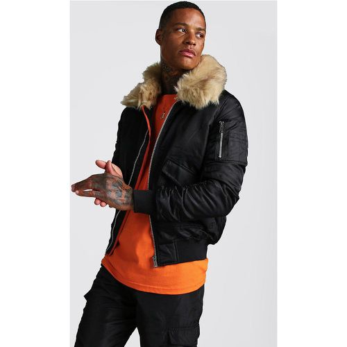 Aviator Jacket with Faux Fur Collar Homme - - L, - Boohooman - Shopsquare