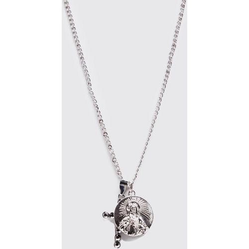 Part Coin & Cross Necklace Homme - - ONE SIZE, - Boohooman - Shopsquare