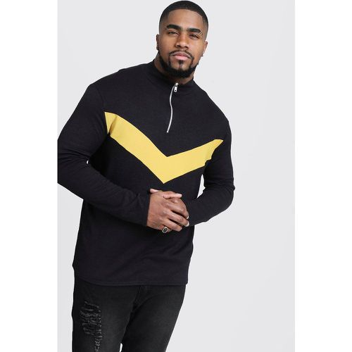 Big and Tall - Pull en maille à chevrons et demi-zip - boohooMAN - Shopsquare