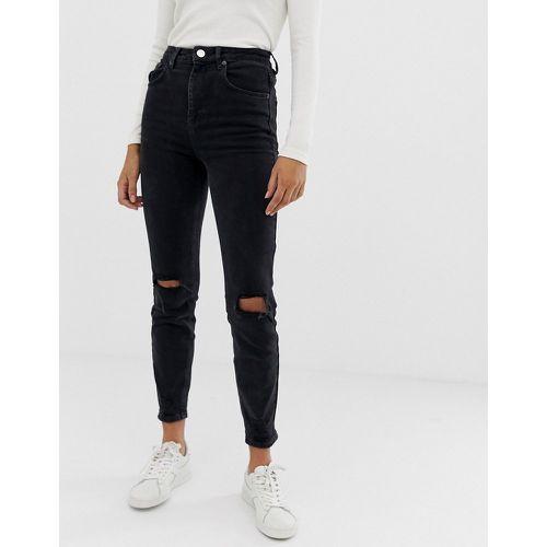 182bdcd817 Farleigh - Jean slim mom taille haute genoux déchirés - délavé - ASOS  DESIGN - Shopsquare