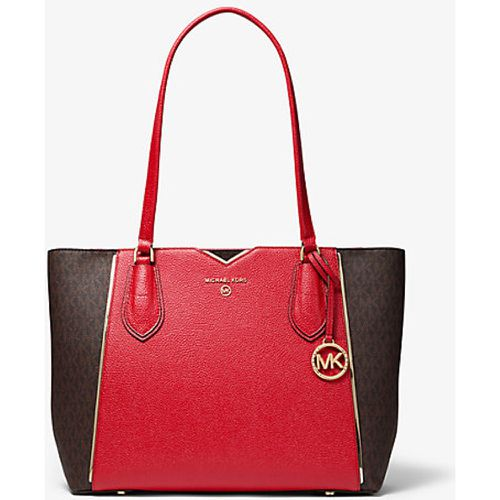 Mae Medium Pebbled Leather And Logo Tote Bag - MICHAEL Michael Kors - Modalova