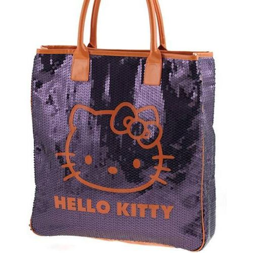 Grand sac shopping Sequins pourpre Hello Kitty - CAMOMILLA - Shopsquare