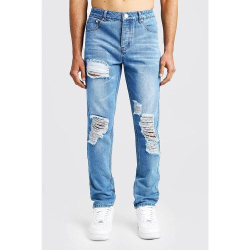 Jean en denim rigide aspect vieilli coupe slim - BOOHOOMAN - Shopsquare
