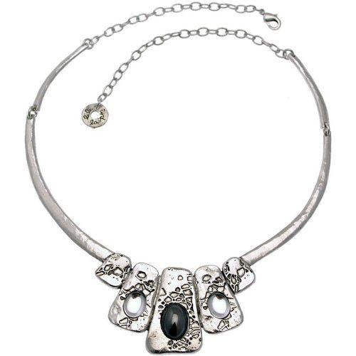 Collier plastron métal argenté et pierres collection QAZAR - LILI LA PIE - Shopsquare