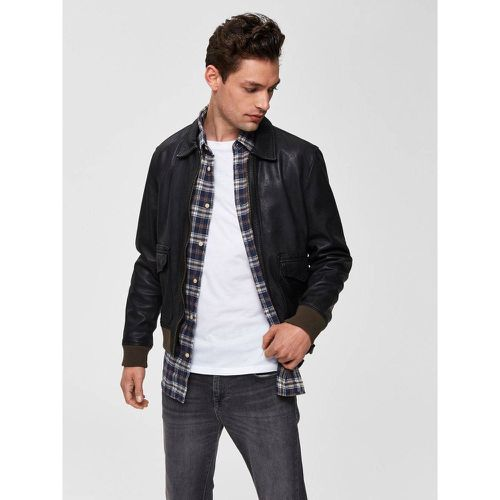 Veste en cuir Aviateur - - Selected Homme - Shopsquare