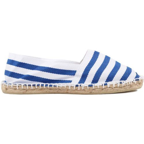 Espadrilles en toile Blanche Rayure Bleue France - Made in France - 1789 CALA - Shopsquare