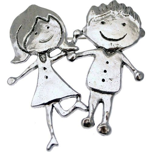 Grande broche couple métal é collection ZAZOU'S - LILI LA PIE - Shopsquare