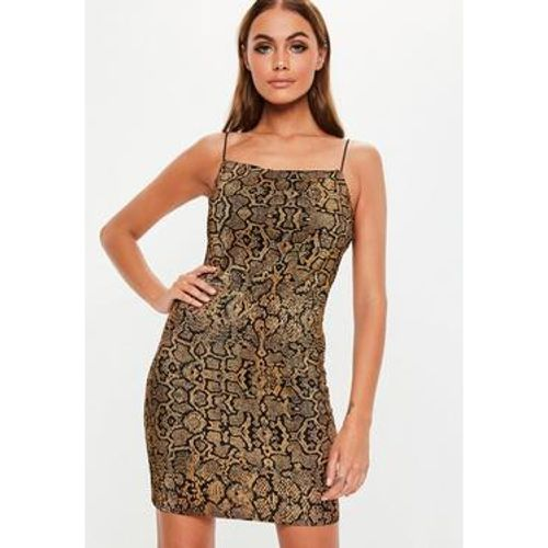 Robe courte col droit plissée marron imprimé serpent - Missguided - Shopsquare