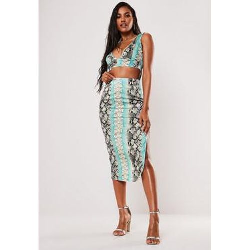 Jupe mi-longue en satin imprimée serpent - Missguided - Shopsquare