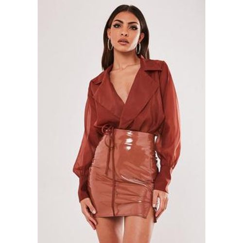 Jupe courte moka en simili cuir - Missguided - Shopsquare