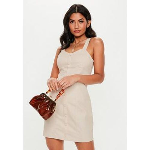 Robe courte nude effet corset à boutons, - Missguided - modalova