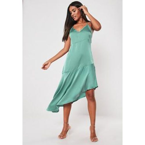 Robe mi-longue caraco asymétrique cyan en satin, - Missguided - Shopsquare