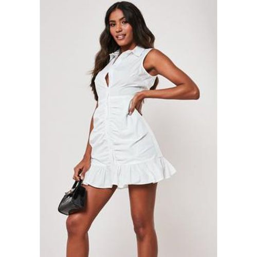 Robe chemise blanche sans manches en popeline, - Missguided - Shopsquare