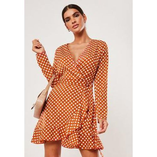 Robe portefeuille rouille à pois - Missguided - Shopsquare