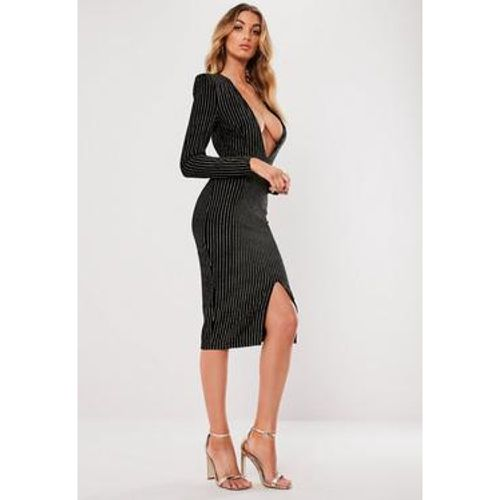 Robe midi en velours rayé brillant décolleté plongeant, - Missguided - Shopsquare