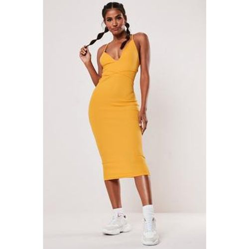 Robe mi-longue moulante moutarde - Missguided - Shopsquare