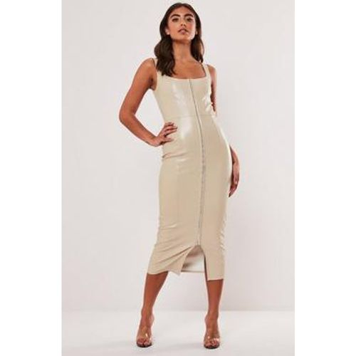 Robe mi-longue moulante en simili cuir , - Missguided - modalova