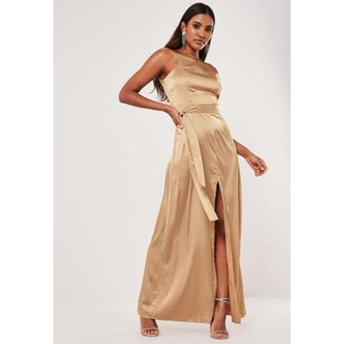 Robe longue en satin fendue, - Missguided - modalova