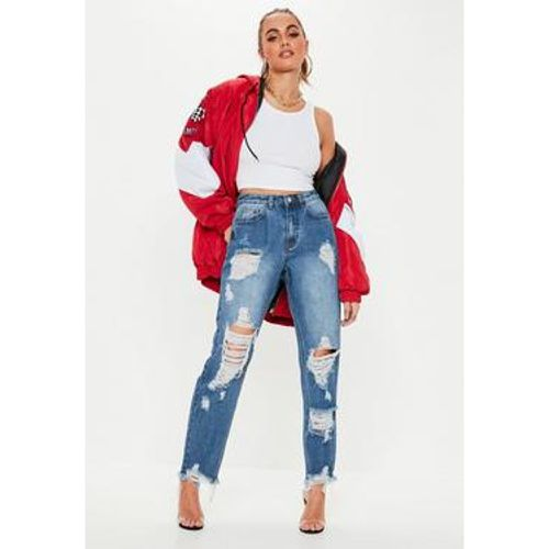 Jean mom délavé super déchiré riot - Missguided - Shopsquare