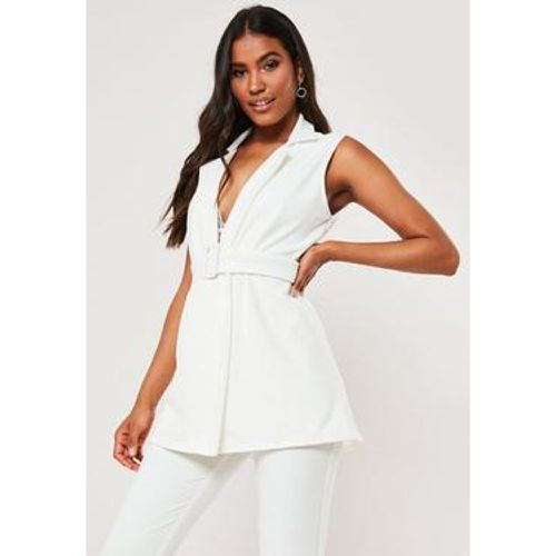 Long Blazer blanc sans manches - Missguided - Shopsquare