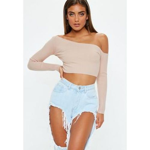 Top court côtelé beige coupe asymétrique - Missguided - Shopsquare