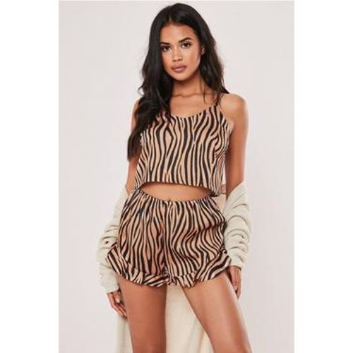 Short de pyjama marron en satin avec volants et motif tigre, - Missguided - Shopsquare