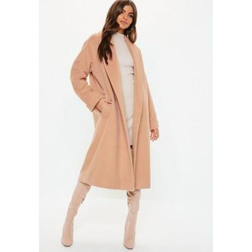 Manteau long camel brossé col arrondi, - Missguided - Shopsquare