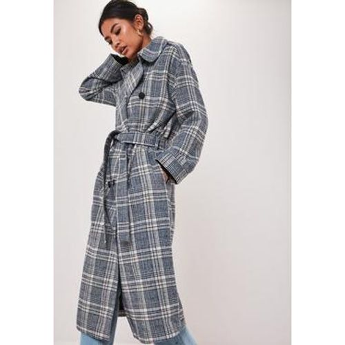 Manteau trench à carreaux oversize, - Missguided - modalova