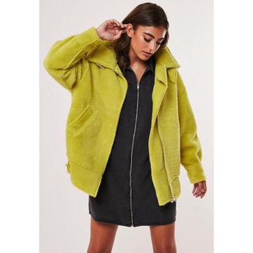 Veste aviateur verte citron mouton - Missguided - Shopsquare