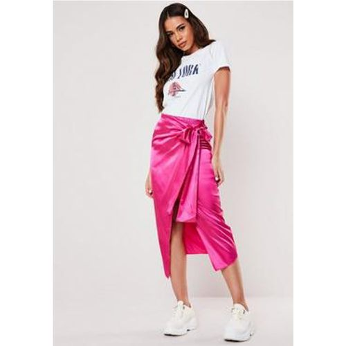 Jupe midi portefeuille rose fuchsia en satin - Missguided - Shopsquare