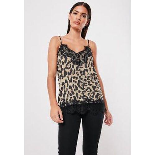 7388c4b59742 Top marron imprimé léopard à dentelle - Missguided - Shopsquare