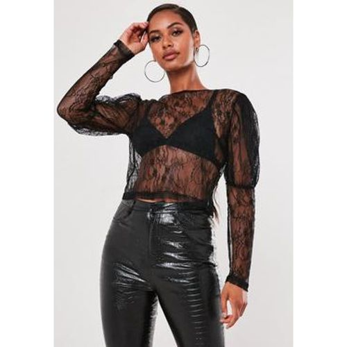 Crop top noir en dentelle, Noir - Missguided - Shopsquare