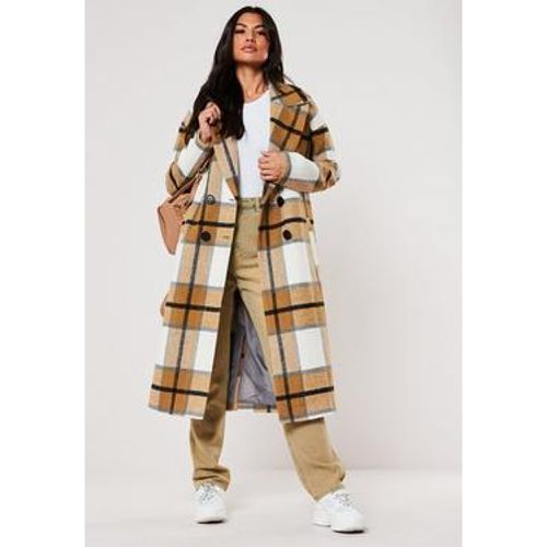 Manteau moutarde à carreaux oversize Tall, - Missguided - modalova