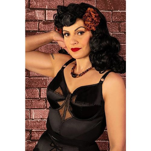 Retro Bow Longline Bra Années 50 en Noir - what katie did - Shopsquare