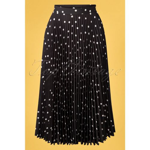Aubrey Polkadot Pleated Skirt Années 50 en Noir - closet london - Modalova