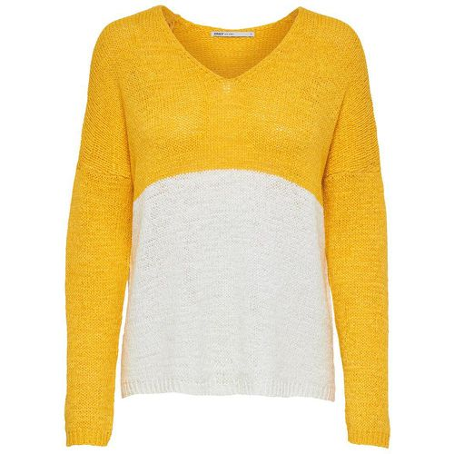 Blocs De Couleur Pull En Maille Women Yellow - ONLY - Shopsquare