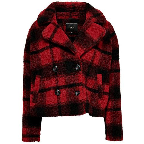 Carreaux Peluche Veste Women Red - ONLY - Shopsquare