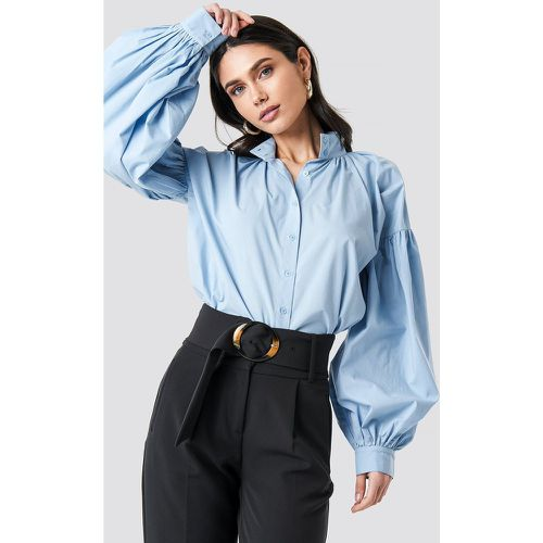 Balloon Sleeve Shirt - Blue - NA-KD Classic - modalova