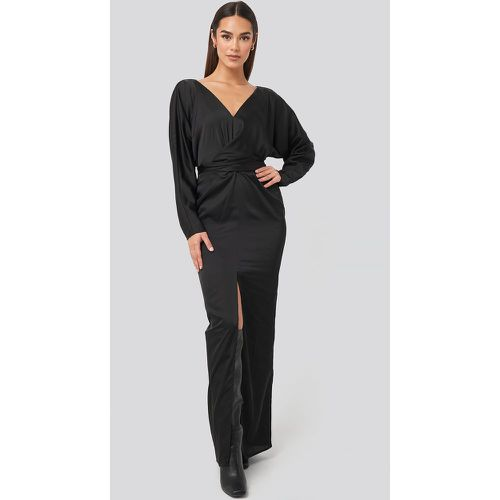 Belted Batwing Sleeve Maxi Dress - Black - NA-KD Party - modalova