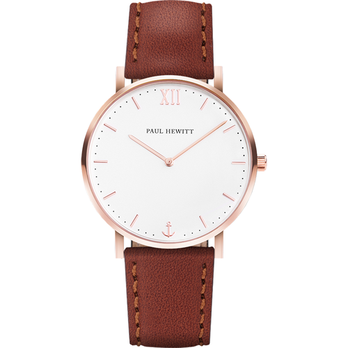 Montre Sailor Line White Sand IP Or Rosé Bracelet Cuir Marron - PAUL HEWITT - Shopsquare